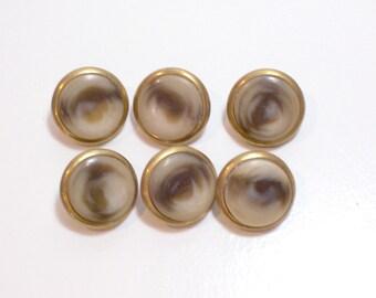 Vintage Faux Tortoise Shell Metal Edge Buttons x 20 pieces, 3/4 inch diameter