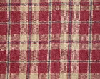 Homespun Material    Homespun Fabric     Country Cupboard Wine Plaid    1 Yard