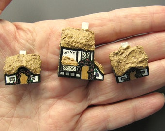 Dollhouse Miniature Three-Piece Set of British Thatched Roof Cottages Handmade and Handpainted
