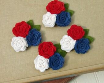 Wool Felt Flowers - Mini Posies Trio Americana - The Original Wool Felt Posies
