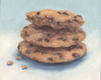 Chocolate Chip Cookies Original Ready To Hang Oil Painting Dessert Still Life Kitchen Wall Decor