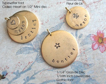 Grande Name Tag . One Large Round Pendant ONLY . Hand Stamped charm . custom antiqued metal disc . Copper, Silver or Gold . GPS Coordinates