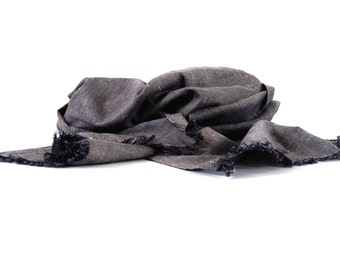 Grey linen cotton scarf unisex lightweight fashion