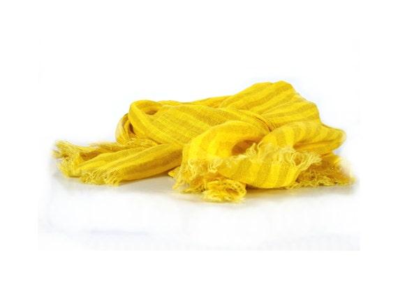 Scarf shawl wrap women men, Yellow Linen Scarf, Linen Spring Summer Autumn Scarf, Lightweight Fashion