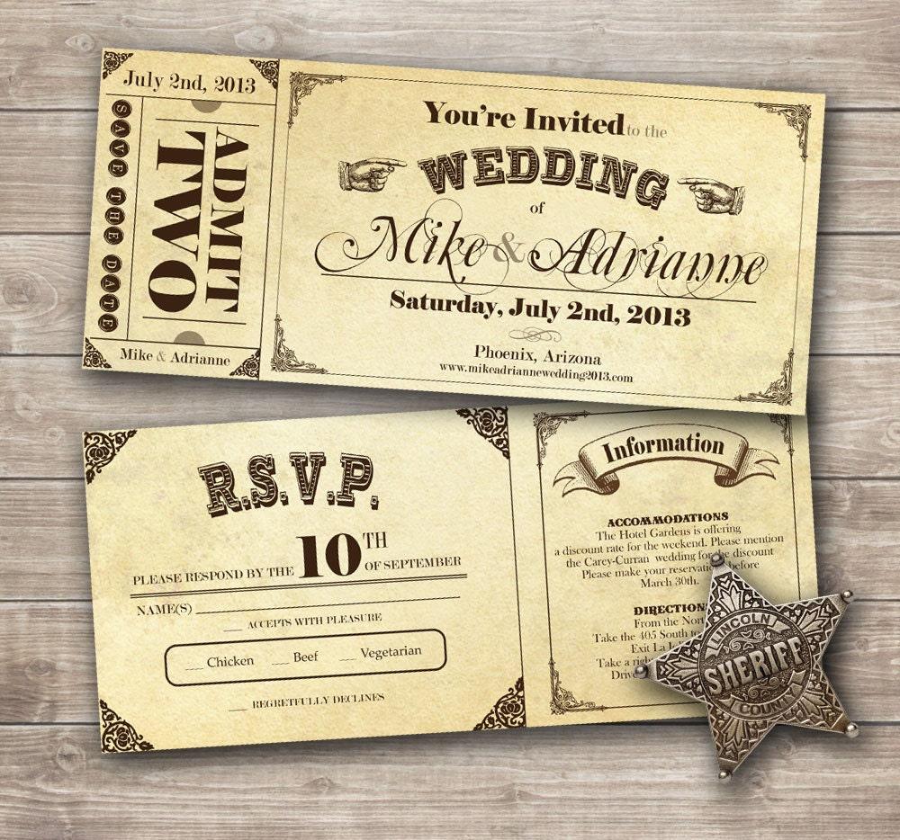 Wedding Invitation Tickets: Country Vintage Ticket Wedding Invitation Set By