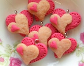 6pcs Love Valentine Charms - Heart Collection