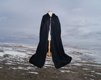 Black Cloak Cape Fleece Hooded Renaissance  Halloween Medieval Gothic  Costume Harry Potter