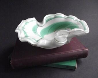 Vintage Murano Glass Ashtray Dish- Aqua Green Swirl Encased Art Glass - 3 Pound Estate Find