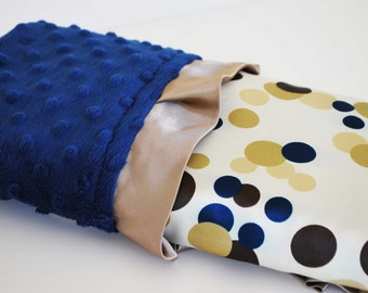 BINKEN BABY mini BLANKET .... Polka dot satin print with royal blue minky dimples and matching satin trim.....Elegant baby blanket