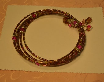 Fun Brown,Gold and Fuchsia Crystal Memory Wire Bracelet
