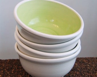 Pottery Soup Bowls or Cereal Bowls in Lime Green - Set of 4 Stoneware Ceramic Bowls