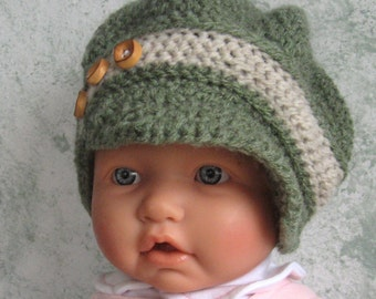 Infant Toddler Crochet Hat Pattern NewsBoy Slouchy Style Hat With Brim PDF Multi- Sized Crochet Pattern Instant Download