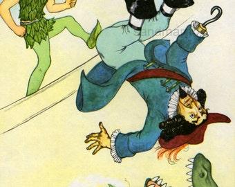Peter Pan Kicks Captain Hook to the Crocodile Childrens Book Illustration to Frame Marjorie Torrey