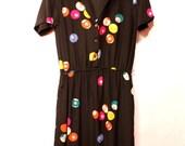 Vintage 1980s POOL BALL print Jack Mulqueen silk dress