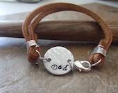 Dad Bracelet, Dad Jewelry, Personalized Bracelet, Leather Bracelet, Handstamped Bracelet, Fathers Mens Dads Sons Grandfathers Jewelry, ID