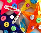 Christmas Star Button decorations in a 5 pack of bright neon modern colours - its all about the neon 2013