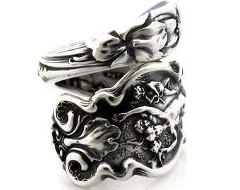 Spoon Ring Size 5  to 11 Sterling Silver Irian Wallace Cupid