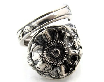Sterling Spoon Ring Wild Rose Watson Size 6-12