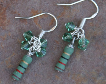 Green Computer Resistors Gone DeSIGNeR Earrings N Swarovski Crystals Techie Fashion Geekery at its Finest