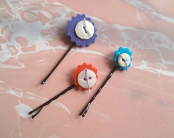 Vintage Button Hair Accessories: Barrettes