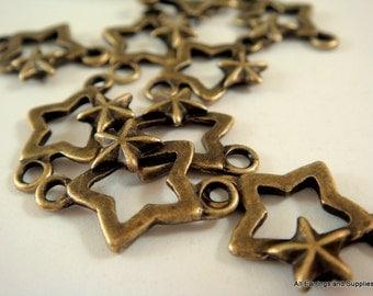 10 Star Link Connector Antique Bronze LF/NF 18.5x12.5x2.5mm - 10 pc - F4107LK-AB10-M