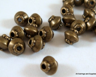 25 Spacer Beads Metal Bead Antique Bronze Bicone Saucer 4x4mm Plated Alloy LF/NF/CF - 25 pc - M7044-AB25