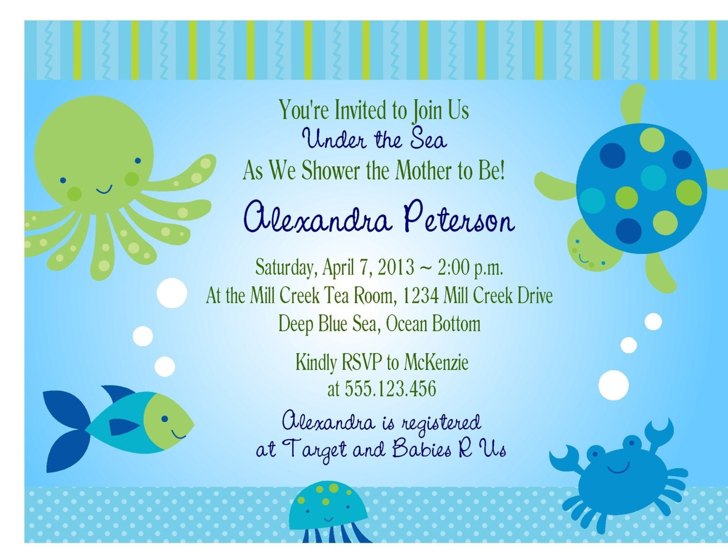 UNDER THE SEA Baby Shower Invitation/Printable Digital