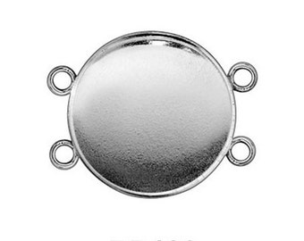4pcs x Round 18mm Bezel Cups Sterling Silver 925 (RD186)