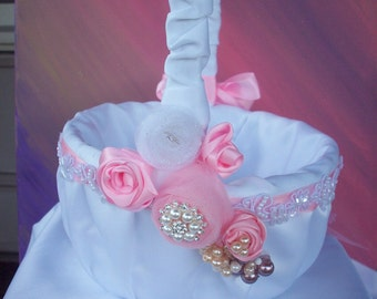 Flower Girl Basket Embellished with Ribbons, Pearls, Swarovski Crustals & Rhinestones.