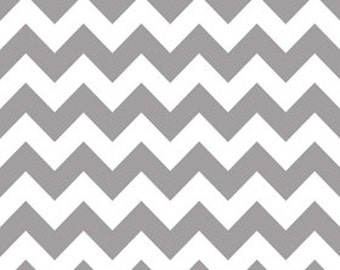 Riley Blake Medium Chevron Grey Flannel Fabric, 1 yard
