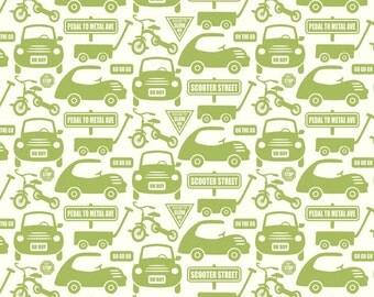 Riley Blake Cruiser Cars Green Flannel Fabric, 1 yard