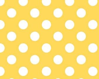 Riley Blake Yellow Dot Flannel Fabric, 1 yard