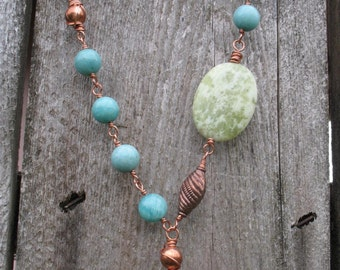 Gemstone necklace ~ Copper, Serpentine, & Amazonite Handmade Necklace
