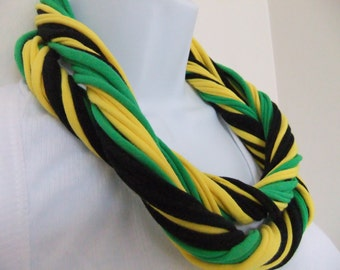 Multi Strand Infinity T Shirt Scarf Cotton Jersey Eternity Multi Colored Patriotic Jamaican Colors Black Green Yellow-Gold Celebrate