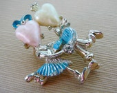 Vintage .. Brooch Dancers Heart Faux Pearl SIlver tone baby blue pink cream Figural