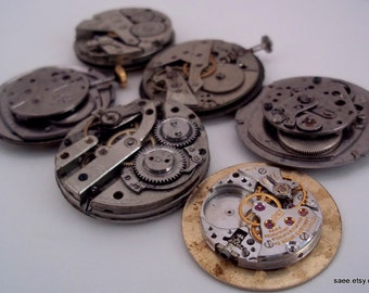 Lot of 6 Vintage watch movements for steam punk or jewelry. Lot 9.