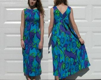 Hawaiian Dress / Purple Swirls Retro Dress / 60s Psychedelic Dress