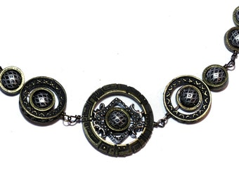 Cyber-steampunk Jewelry - Necklace - Mixed Metal Tone Star Gate - Silver tone and antique bronze