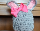 Grey Bunny Hat  - Photo Prop - Sizes NB through 6-12 months - Hot Pink or Light Pink Clip On Bow