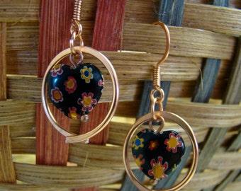 SALE Very Nice Artisan Handmade Copper Wirework Black Millefiori Heart Dangle Earrings 1.99 Shipping USA