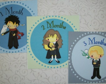 WIZARDS -Magical Boys Monthly Stickers - BaBy PHOTo ProPs - SeT oF12 - Click on all photos - Monthly Stickers - HPON 44862