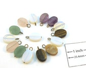 Assorted semi precious Stones 14mm x 10mm Flat Oval Bead, Brass Wire Loop Dangle, Set of 15pc, 1089-22