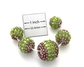 Green and brown Glass Seed Beaded Three Sizes Round Beads, Sold per 5 pc set, 1035-26