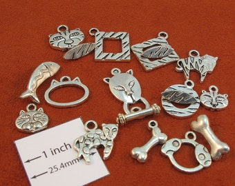 Assorted Designer Antiqued Silver Metal Animal  Toggle Clasps with Charms, Set of 6, 1087-05