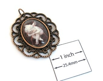 Antiqued Copper Metal Frame/Setting, Cute Sleeping ANGEL Glass Cabochon, 45mm x 37mm Pendant, 1087-14