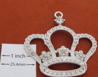 Silver Plated 55mm x 55mm Crown Pendant with Crystals, 1090-21