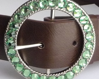 Womens Swarovski Crystal Belt Buckle- 18 RHINESTONE COLOR OPTIONS Avail- Light Green Chrysolite shown- Customizable with Team or Logo Colors