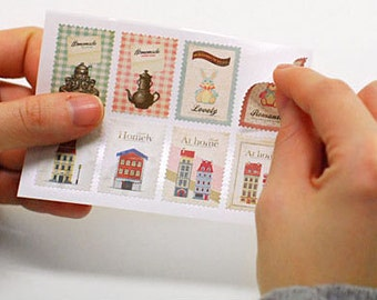 Set of 16 Sheets Romantic Vintage Postage Stamp Stickers (P184)