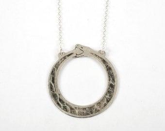 Ouroboros Necklace - Silver Snake Necklace - Silver Ouroboros - Snake Pendant - Snake Jewelry - Snakeskin Necklace
