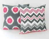 Chevron Pillow Covers Pink Pillows Decorative Pillows Ikat Pillow Covers Size Choice Throw Pillows